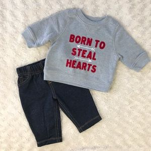 Old Navy Sweatshirt & Carter's Pants Outfit Gray